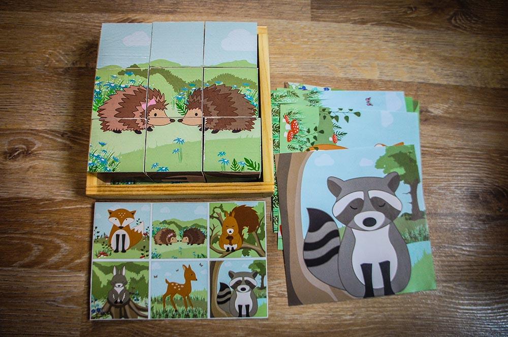 Würfel Holz Tier Puzzle