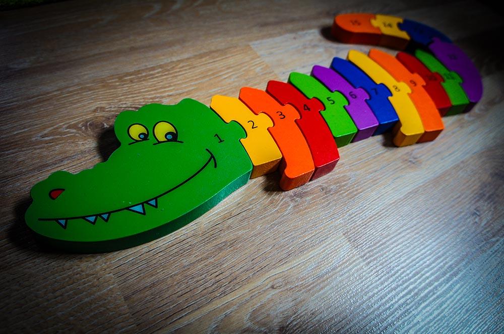 Holz Puzzle Zahlen Krokodil