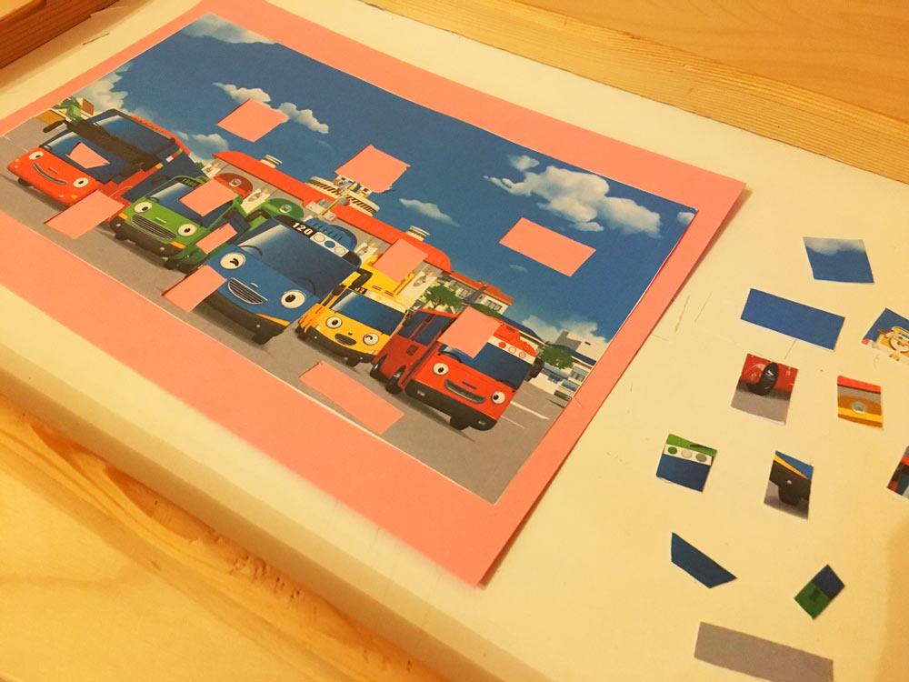 DIY Puzzles: Puzzles aus Schnipseln zum Thema Tayo der kleine Bus.
