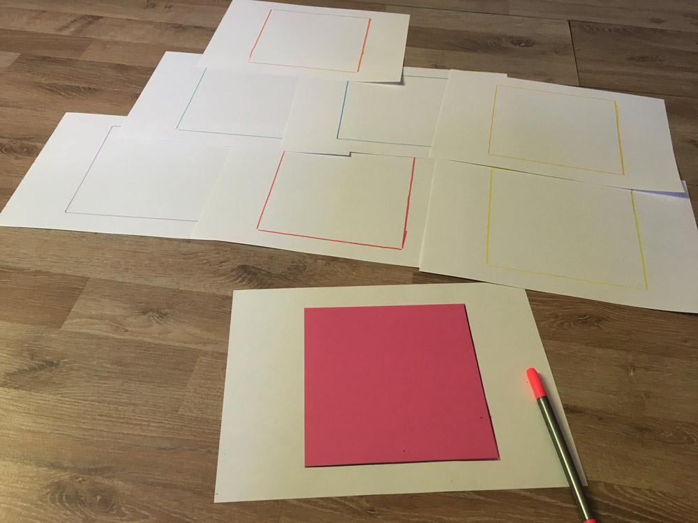 DIY Puzzles: Quadrate Puzzle Schritt 1 Vorzeichnen auf A4 Papier