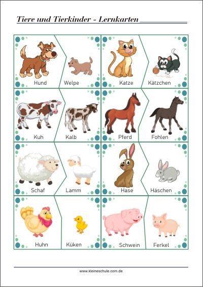 DIY Puzzles: Tiere und ihre Tierkinder Druckvorlage