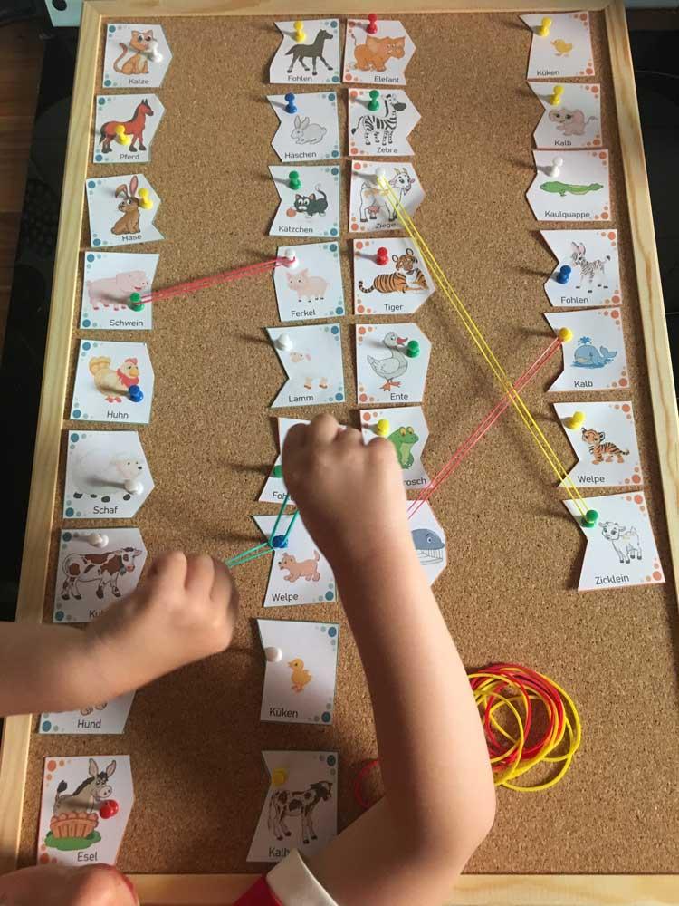 DIY Puzzles: Tiere und ihre Tierkinder Puzzle Zuordnung Spiel an Pinnwand